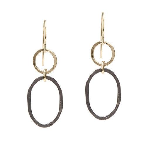 Oxidized Sterling Silver & 14kt Gold Fill Earrings