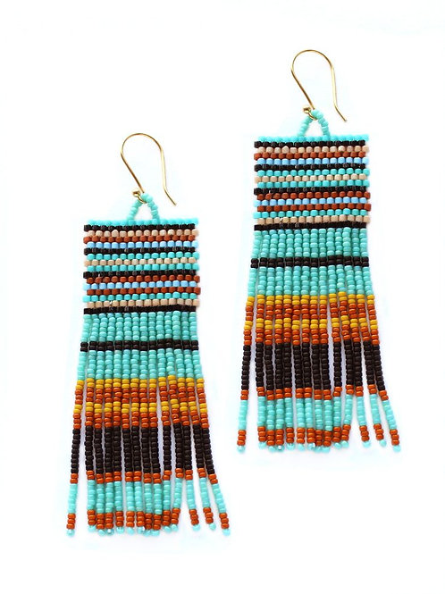 Glass Bead Tassel Earrings - Turquoise, Brown & Black