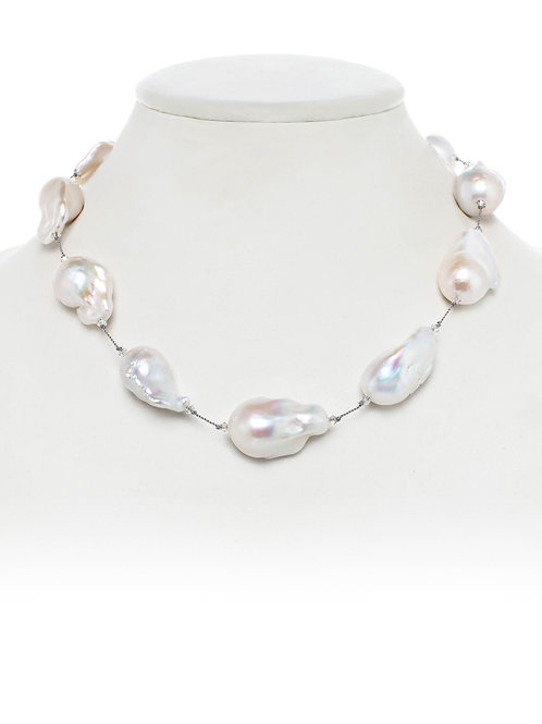 Margo Morrison - Large White Baroque Pearl Necklace