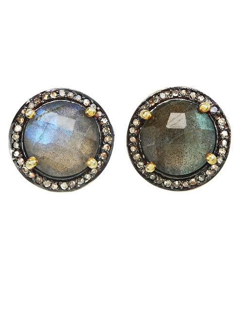 Labradorite & Diamond Earrings