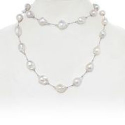 """Gramercy"" White Baroque Pearl Necklace - Margo Morrison"