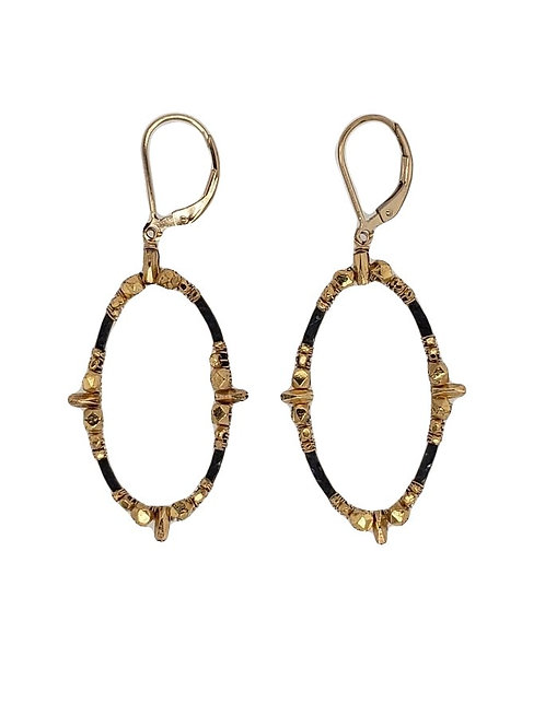 14kt Gold Filled Bead & Oxidized Sterling Silver Earrings