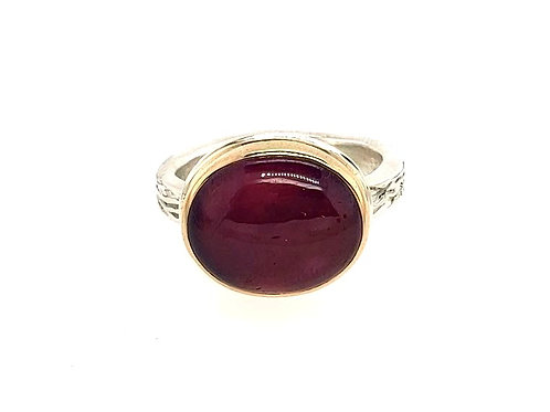 Jamie Joseph - African Ruby Ring - Sterling Silver & 14kt Gold