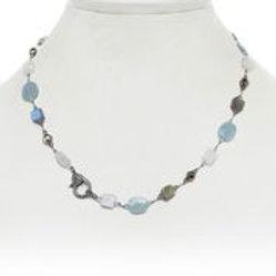 Labradorite, Moonstone, Aquamarine & Diamond Clasp Necklace - Margo Morrison