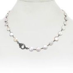 White Coin Pearl Necklace With Diamond Clasp - Margo Morrison