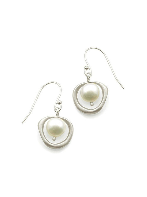 Philippa Roberts - Sterling Silver Organic Circle & Pearl Earrings