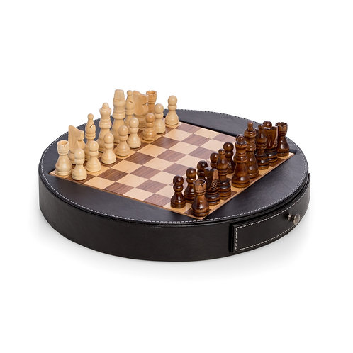 Chessboard in Wood & Leather