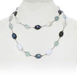 Labradorite, Moonstone, & Aquamarine Necklace - Margo Morrison