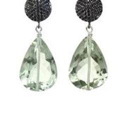 Green Amethyst & Black Spinel Earrings