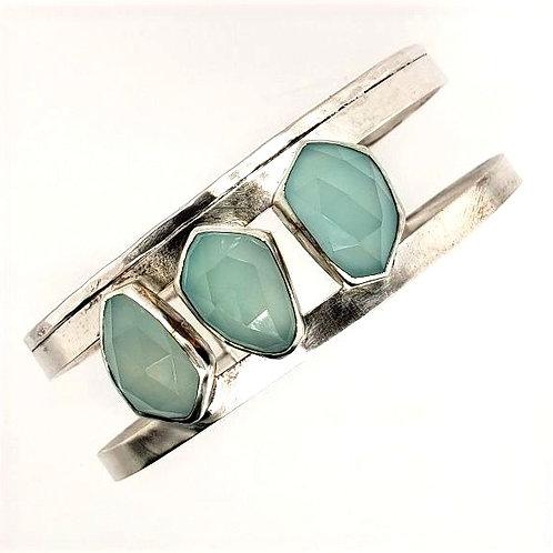 Aqua Chalcedony & Sterling Silver Bracelet - J & I Jewelry