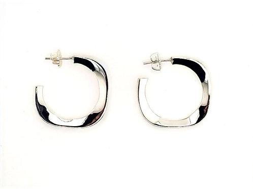 Sculptural Square Hoop Earrings - Sterling Silver