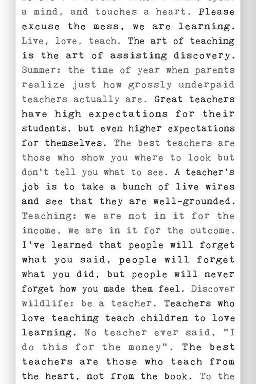 """Teachers"" - Typewriter Sign"