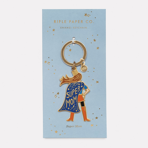 """Super Mom"" Enamel Keychain - Rifle Paper Co."