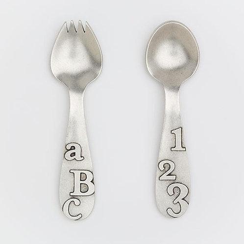 """""""ABC"""" Pewter Spork & Spoon Set"""