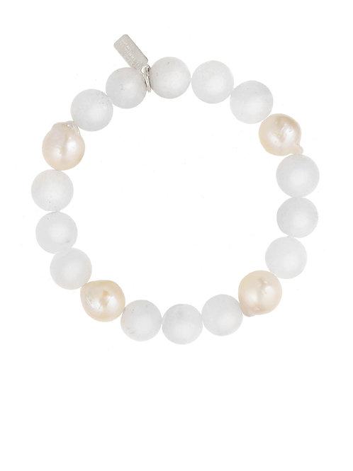 Margo Morrison - White Jade With Baroque Pearls Bracelet