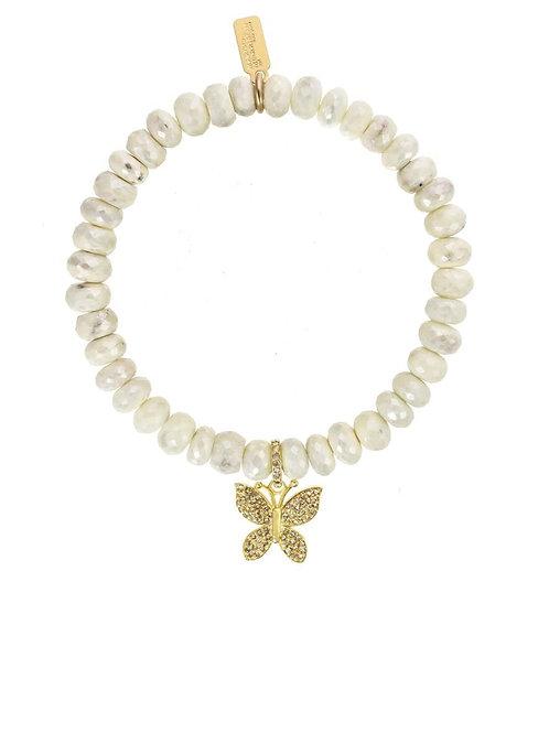 Silverite, 18kt Gold Vermeil & Pave Diamond Butterfly Charm