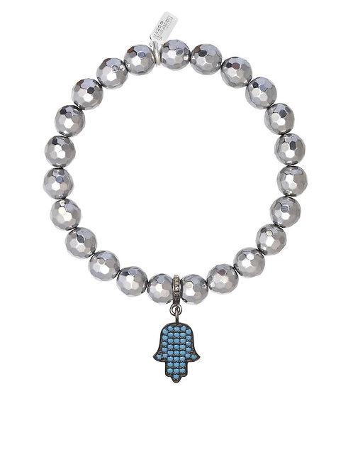 Pyrite & Turquoise Hamsa Charm Bracelet - Margo Morrison