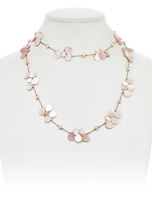 Pink Mother of Pearl Teardrop Necklace