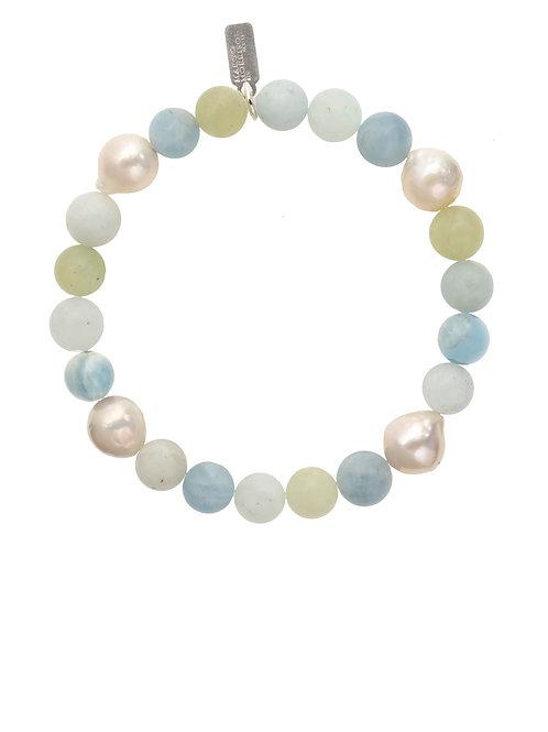 Margo Morrison - Aquamarine Ball & Baroque Pearl Bracelet