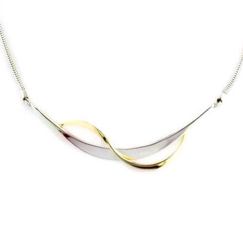 Tom Kruskal - Ribbon Necklace - Sterling Silver & 14kt Gold