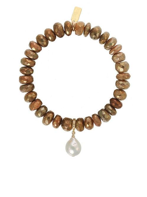Gold Labradorite & Baroque Pearl Bracelet - Margo Morrison