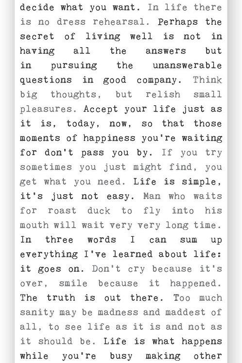 """""""Life"""" - Typewriter Sign"""