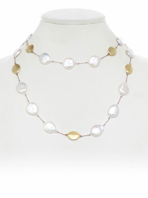 Pearl & 18kt Gold Vermeil Bead Necklace - Margo Morrison