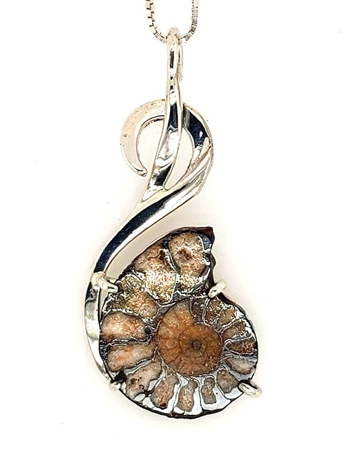 Fossilized Ammonite & Sterling Silver Pendant