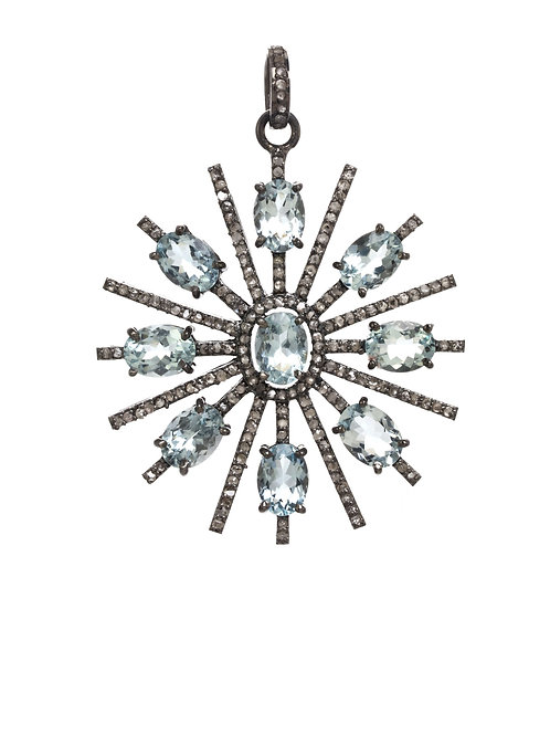 Aquamarine & Diamond Sunburst Charm - Margo Morrison