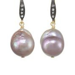 Baroque pearl & White Sapphire Earrings