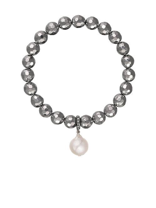 Margo Morrison - Pyrite & Baroque Pearl Drop Bracelet