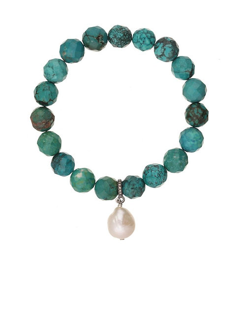 Turquoise & Baroque PearlBracelet - Margo Morrison