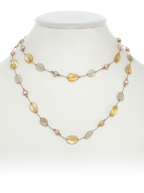 Citrine & Rutilated Quartz Necklace