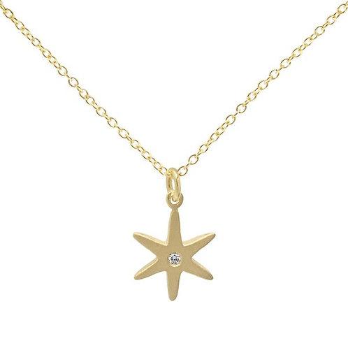18K Gold Star Necklace With Diamond Center - Anne Sportun