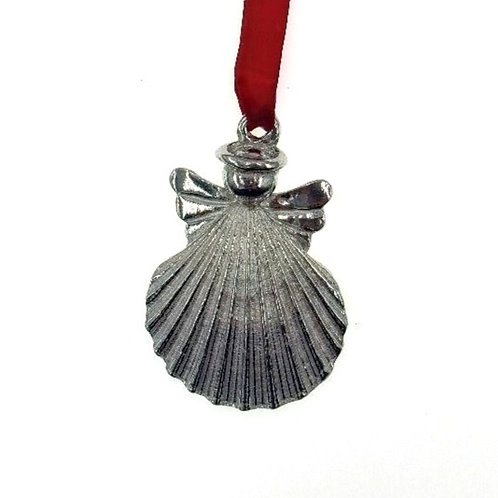 Shell Angel Ornament - Pewter