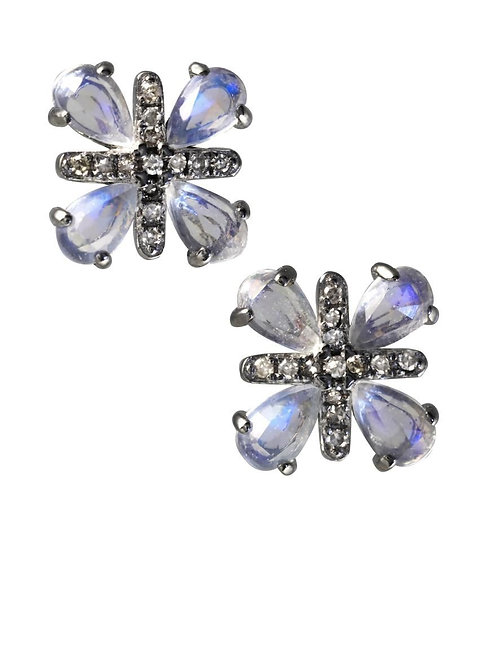 """Diamond & Moonstone """"X"""" Earrings - Margo Morrison"""