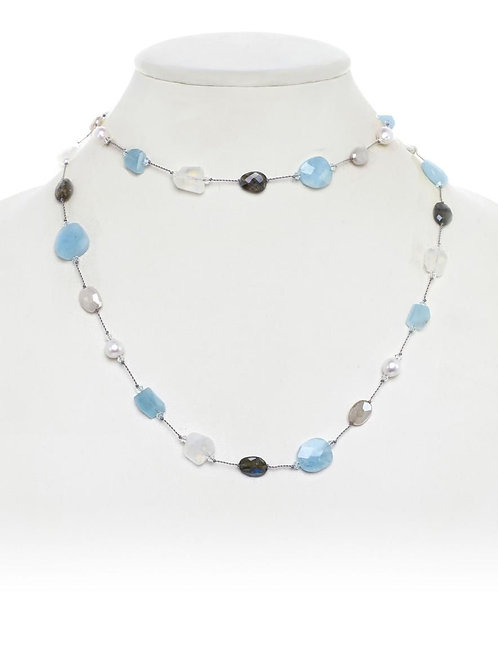 Labradorite, Aquamarine, Moonstone & Pearl Necklace - Margo Morrison