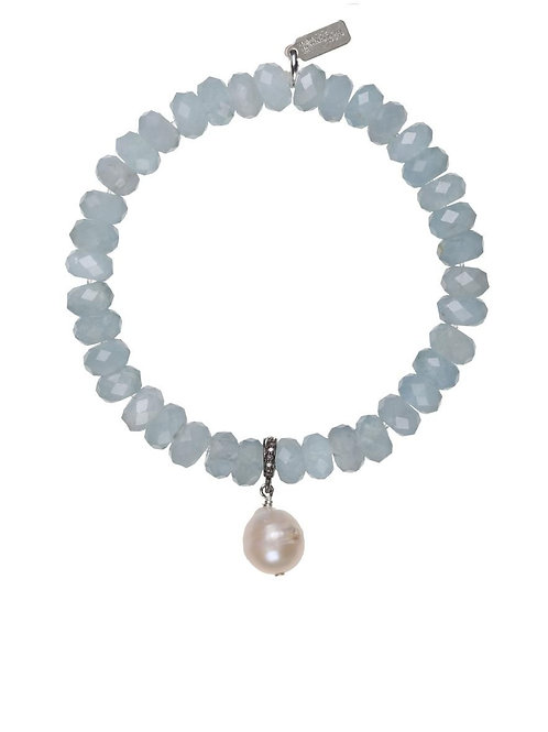 Aquamarine, White Baroque Pearl, and Pave Diamond Bracelet - Margo Morrison