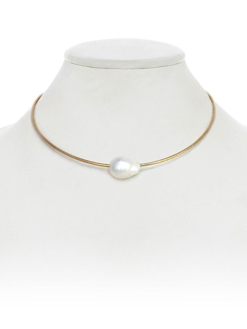 18kt Gold Vermeil Neckwire & Baroque Pearl Necklace - Margo Morrison