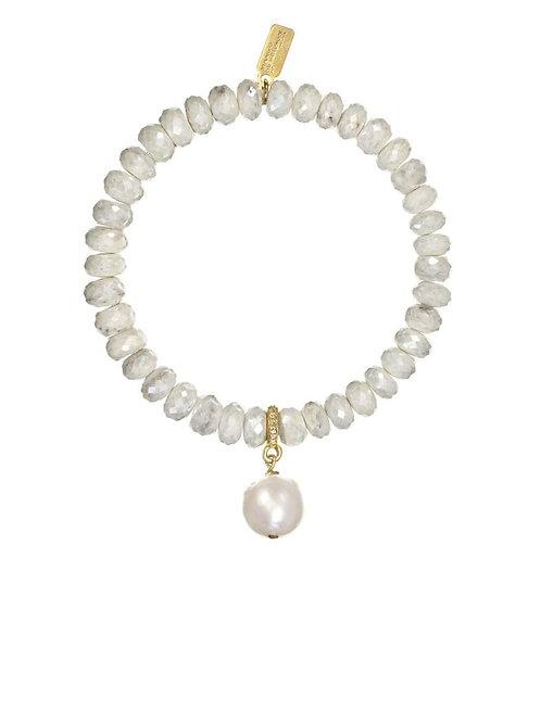 Yellow Silverite & White Baroque Pearl Bracelet - Margo Morrison