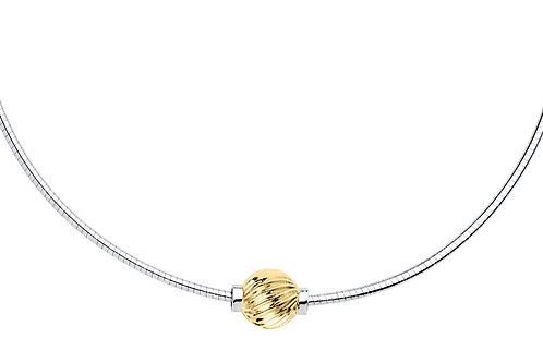 Cape Cod Necklace - 14kt Gold Swirl Bead - Sterling Silver Omega Chain