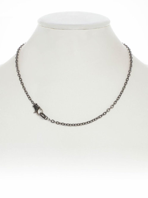 "18"" Sterling Silver Chain With Black Spinel Clasp - Margo Morrison"