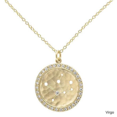 Pave Diamond & 18kt Gold Celestial Halo Necklace - Virgo - Anne Sportun