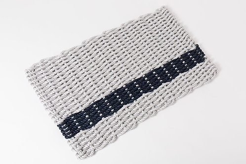 Handwoven Rope Doormat - Fog Gray & Navy Stripe