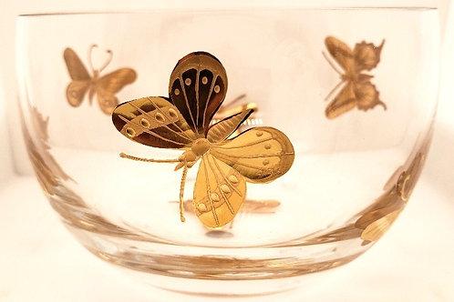 """Butterfly"" Crystal & 24kt Gold Bowl - Artel"