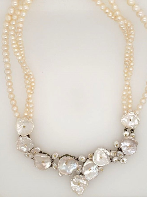 """Silver Dollar"" Necklace - Keishi Pearls - Michael Michaud"