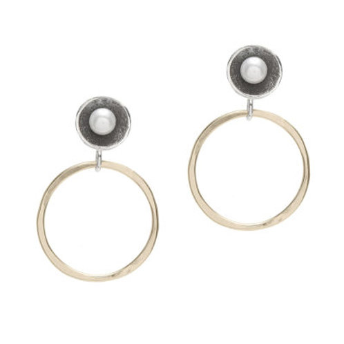 Pearl, Oxidized Sterling Silver & 14kt Gold Fill Post Earrings - J&I