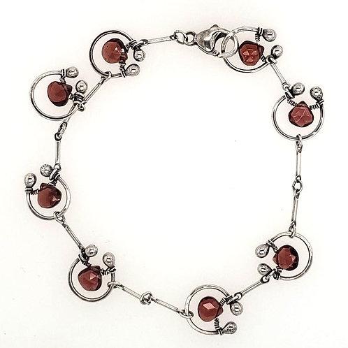 """Horseshoe"" Bracelet - Sterling Silver & Red Garnet"
