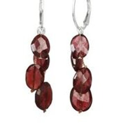 Red Garnet & Sterling Silver Earrings