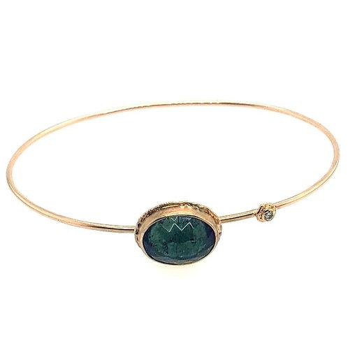 14kt Gold, Green Tourmaline & Diamond Bracelet - Jamie Joseph